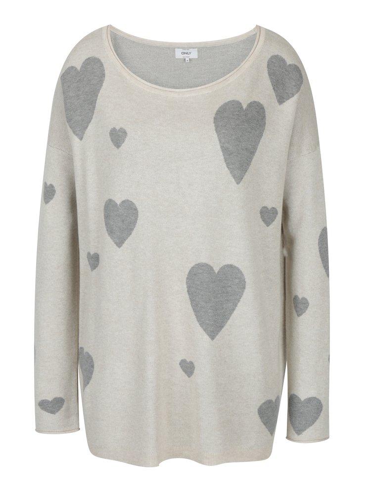 Krémový svetr s motivem srdcí ONLY Valentine