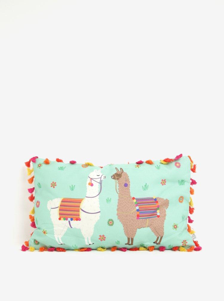 Perna decorativa dreptunghiulara cu ciucuri si print lame - Sass & Belle Lima Llama