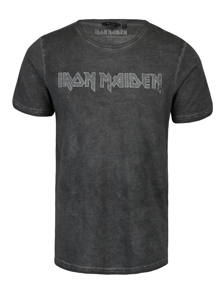 Tricou gri inchis cu print Iron Maiden -  ONLY & SONS Band