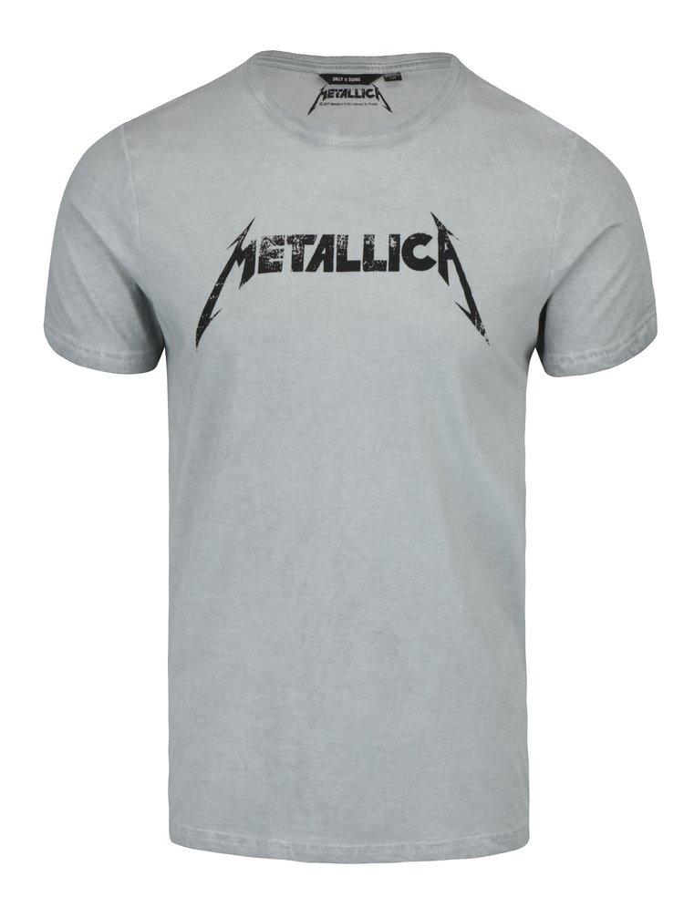 Světle šedé tričko s potiskem ONLY & SONS Band