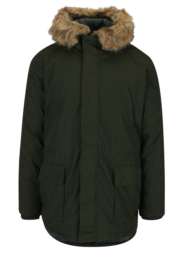 Parka verde inchis cu gluga si buzunare - ONLY & SONS Sigurd