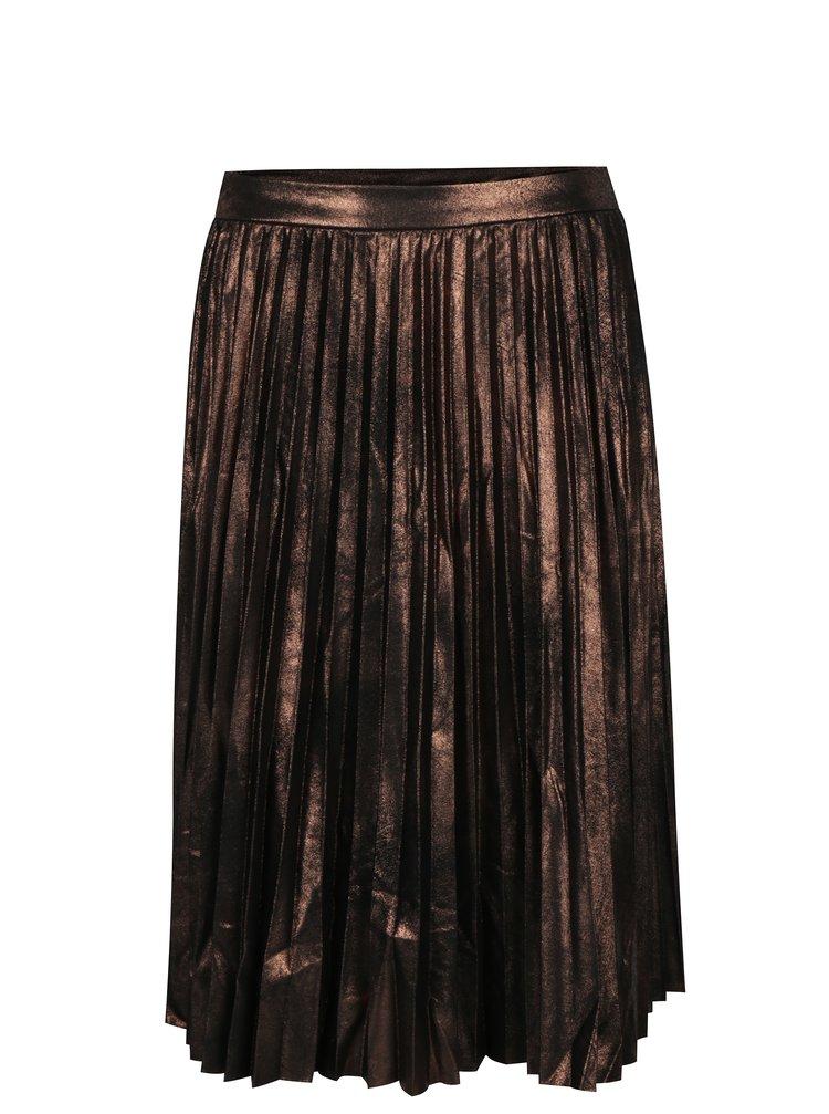 Hnědá metalická plisovaná midi sukně ONLY Joyce