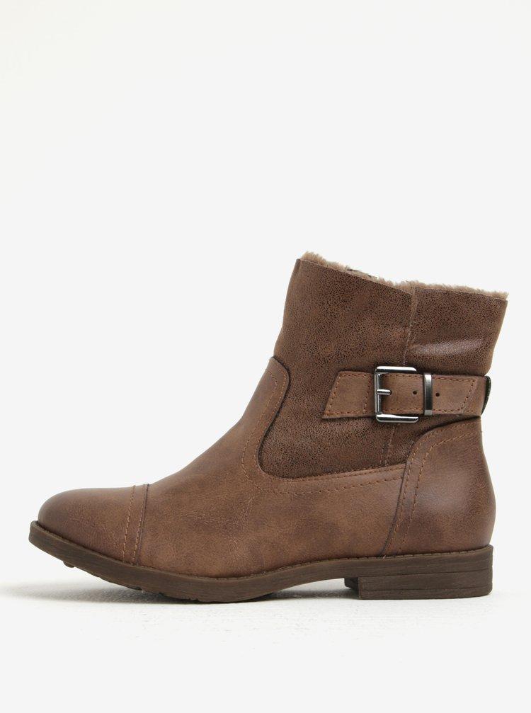 Hnědé zimní kotníkové boty s umělou kožešinou Tamaris