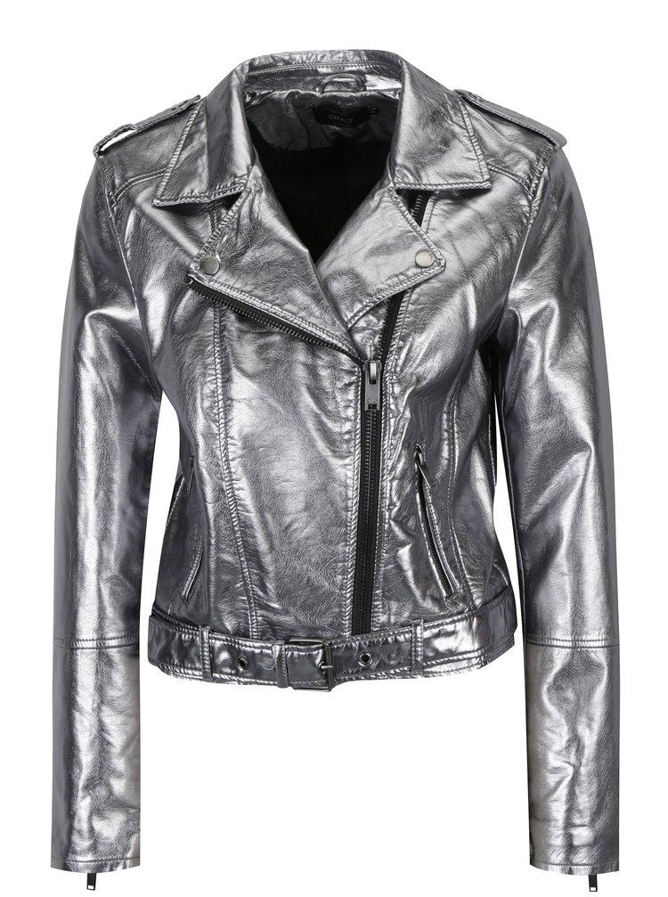 Jacheta biker argintiu metalizat cu revere si fermoar asimetric - ONLY Ann