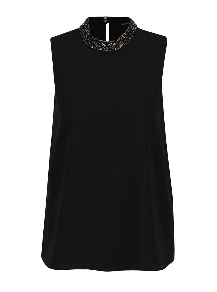 Černá halenka s korálkovým lemem u krku ONLY Lin