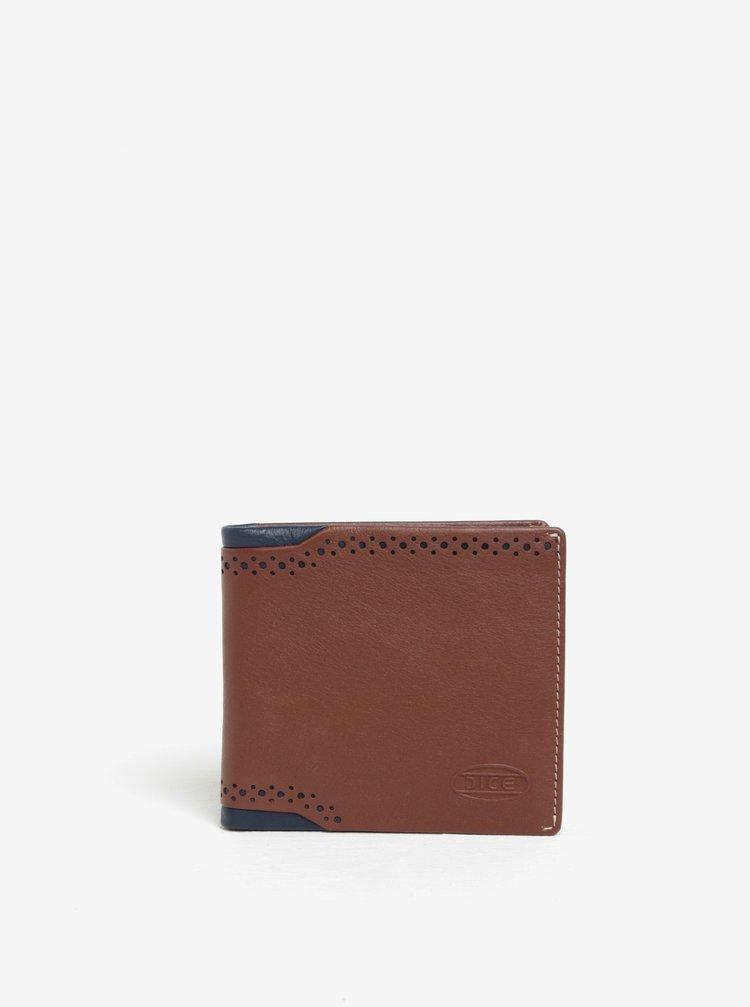 Hnědá kožená peněženka s perforovanými detaily Dice Billfold