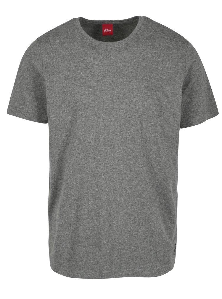 Tricou regular fit gri melanj cu logo cusut pentru barbati s.Oliver
