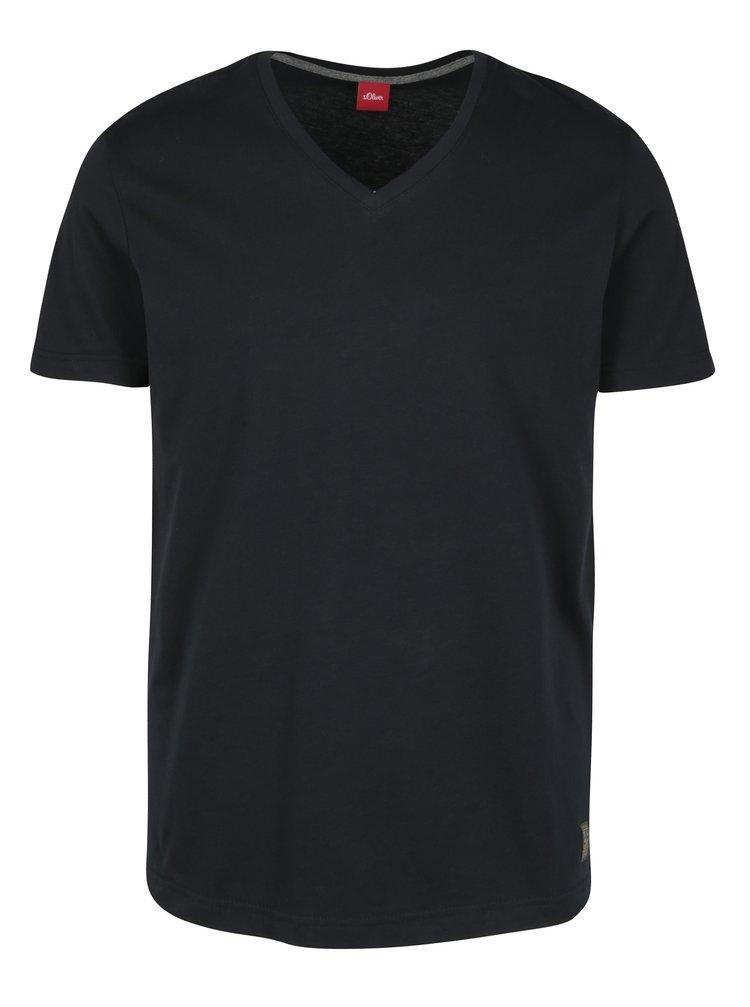 Tricou slim fit albastru inchis cu logo si decolteu anchior pentru barbati s.Oliver