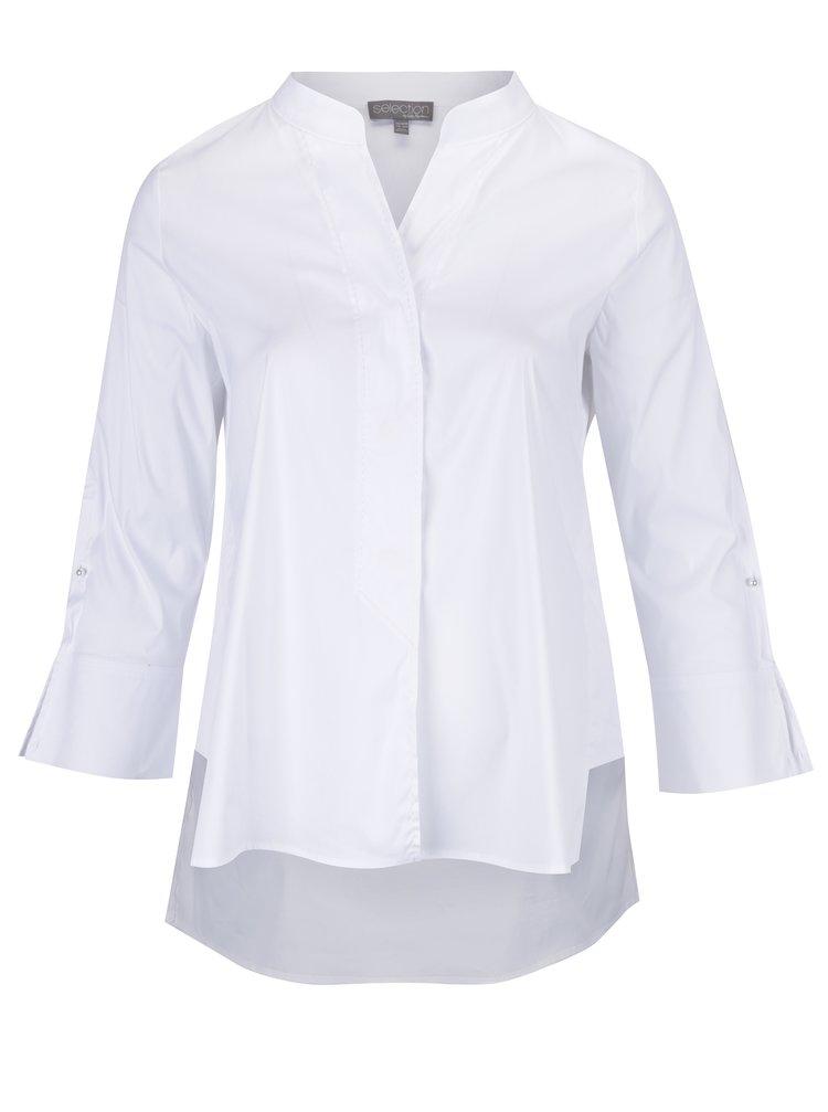 Camasa asimetrica alba cu guler tunica si maneci 3/4 clopot Ulla Popken