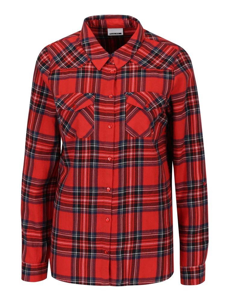 Modro-červená károvaná košile Noisy May Erik