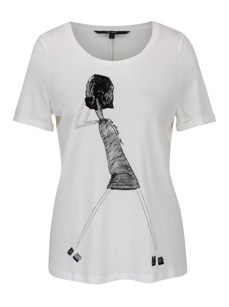 Krémové tričko s potiskem VERO MODA Chick