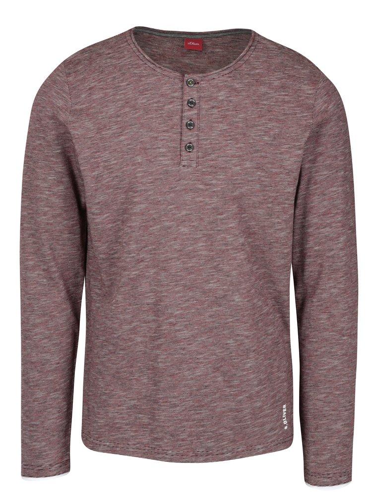 Bluza regular fit bordo&alb in dungi cu nasturi pentru barbati  s.Oliver