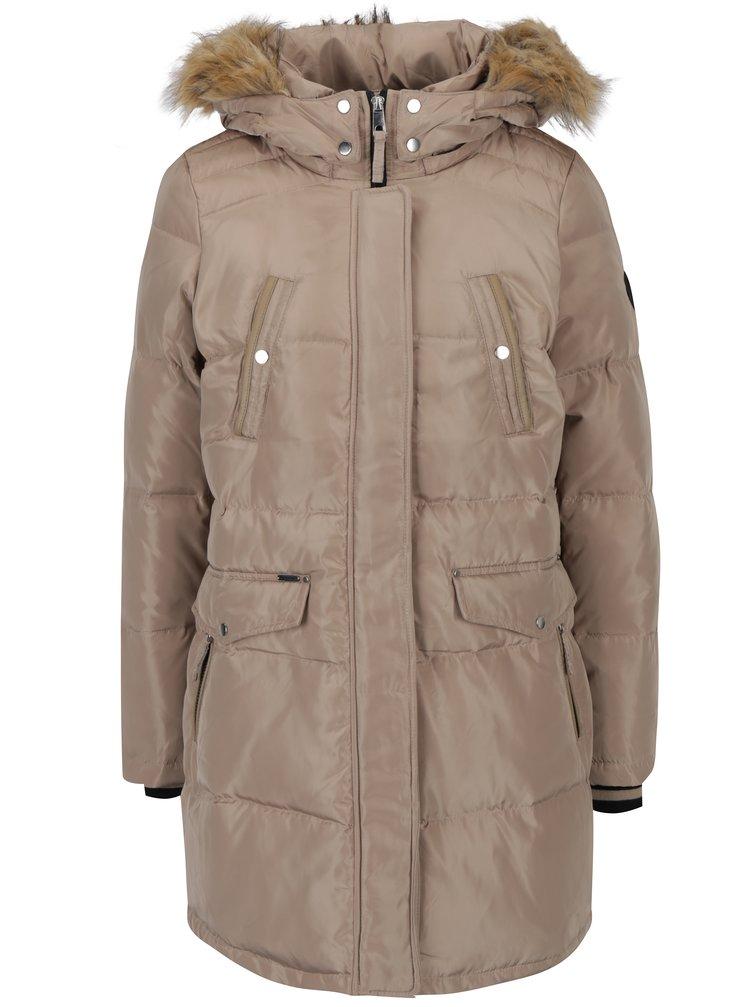 Béžový péřový prošívaný kabát s umělou kožešinou VERO MODA Fea