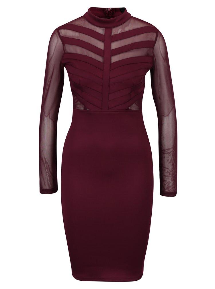 Vínové pouzdrové šaty se síťovanými detaily Ax Paris