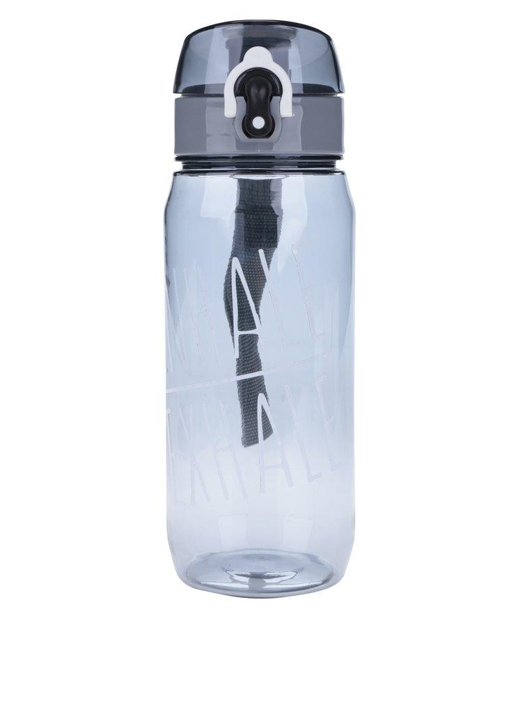 Šedá láhev na vodu s uzamykacím systémem Loooqs