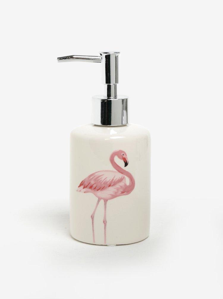 Recipient pentru sapun lichid bej cu print flamingo  SIFCON