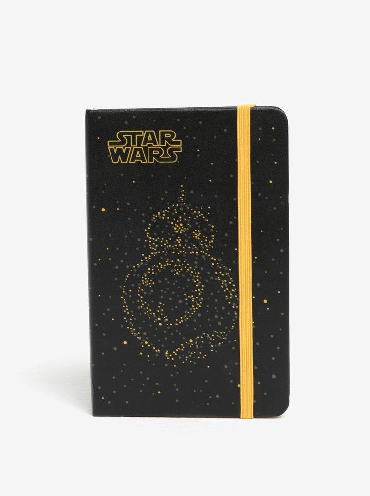 Černý malý denní diář na rok 2018 v pevné vazbě Moleskine Star Wars