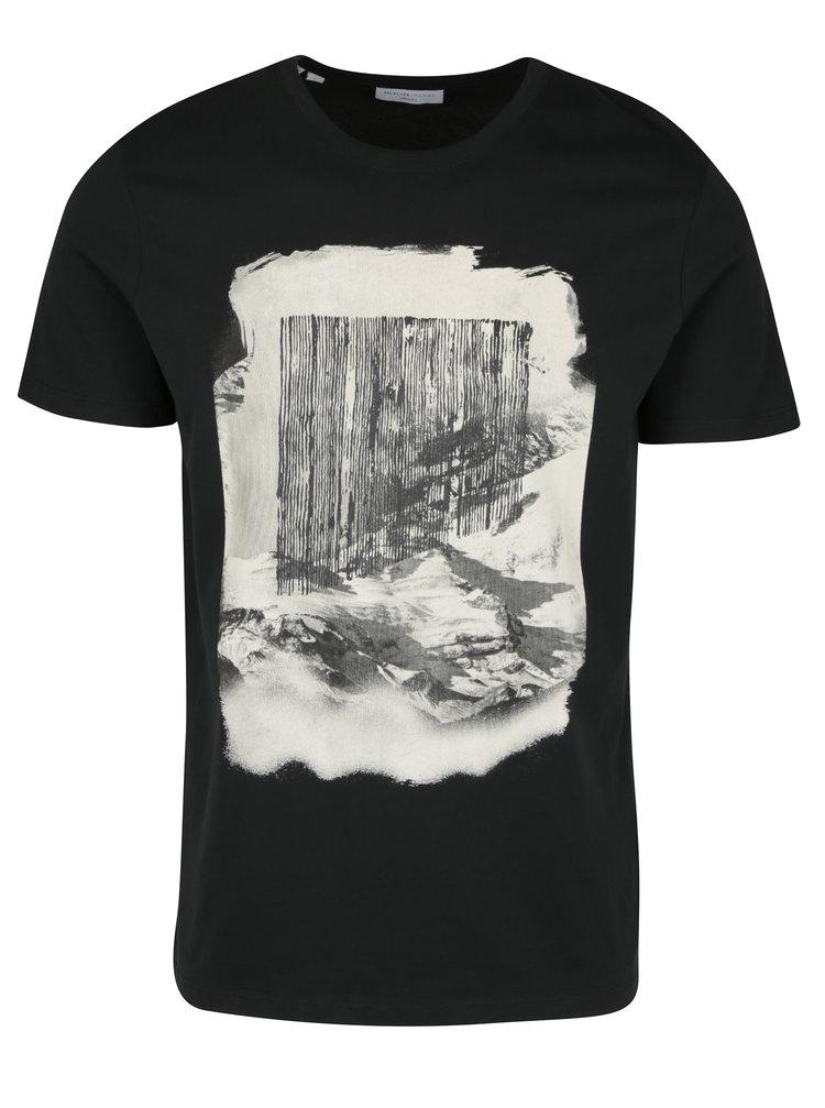 Tricou din bumbac negru & crem cu print -  Selected Homme Prince