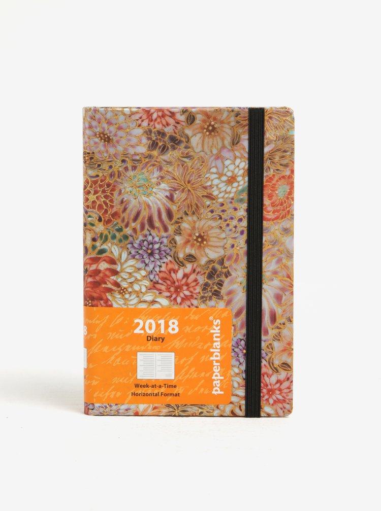 Růžový vzorovaný diář 2018 Paperblanks Kikka