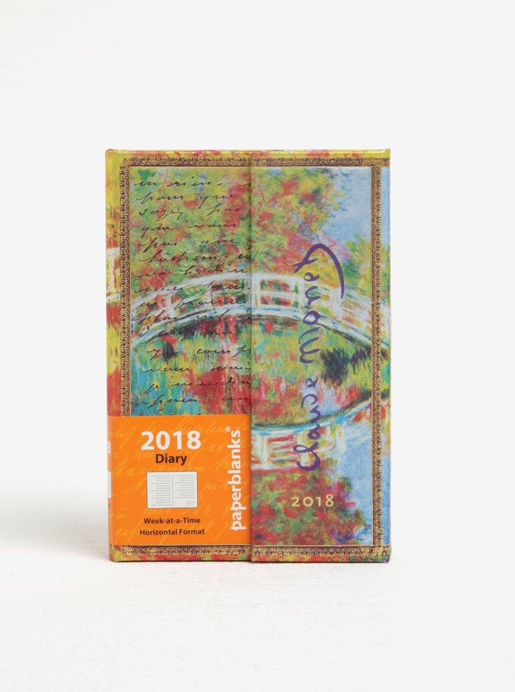 Agenda verde&albastru cu print pictura Claude Monet pentru 2018  Paperblanks Monet