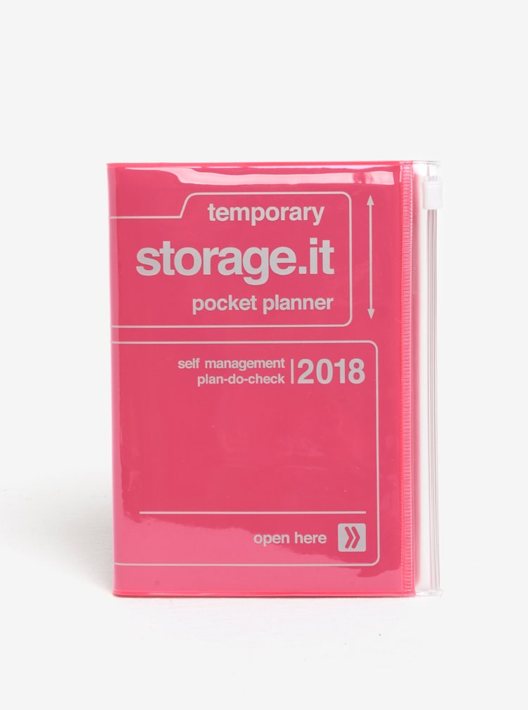 Růžový diář pro rok 2018 Mark's Storage.It A6