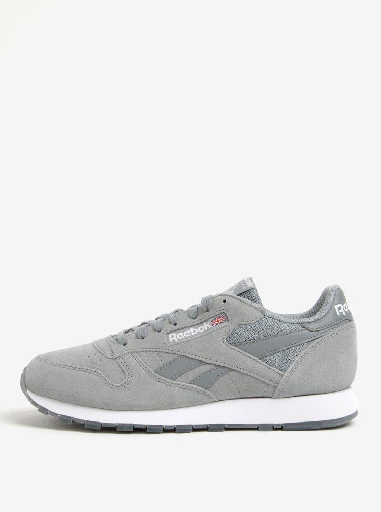 Pantofi sport gri deschis din piele naturala pentru barbati - Reebok