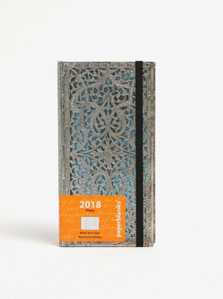 Vzorovaný diář ve stříbrné barvě 2018 Paperblanks Maya Blue