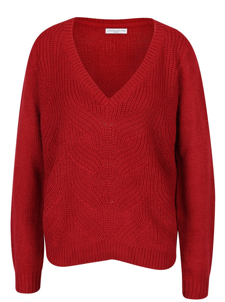 Červený svetr s véčkovým výstřihem Jacqueline de Yong Drink