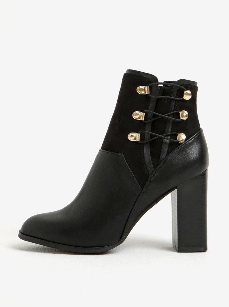 Černé kotníkové boty na podpatku s ozdobnými detaily Miss Selfridge Drummer