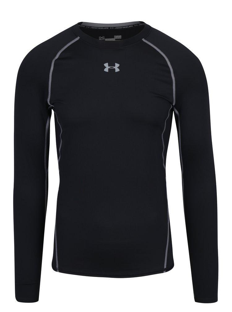 Šedo-černé pánské funkční tričko s dlouhým rukávem Under Armour