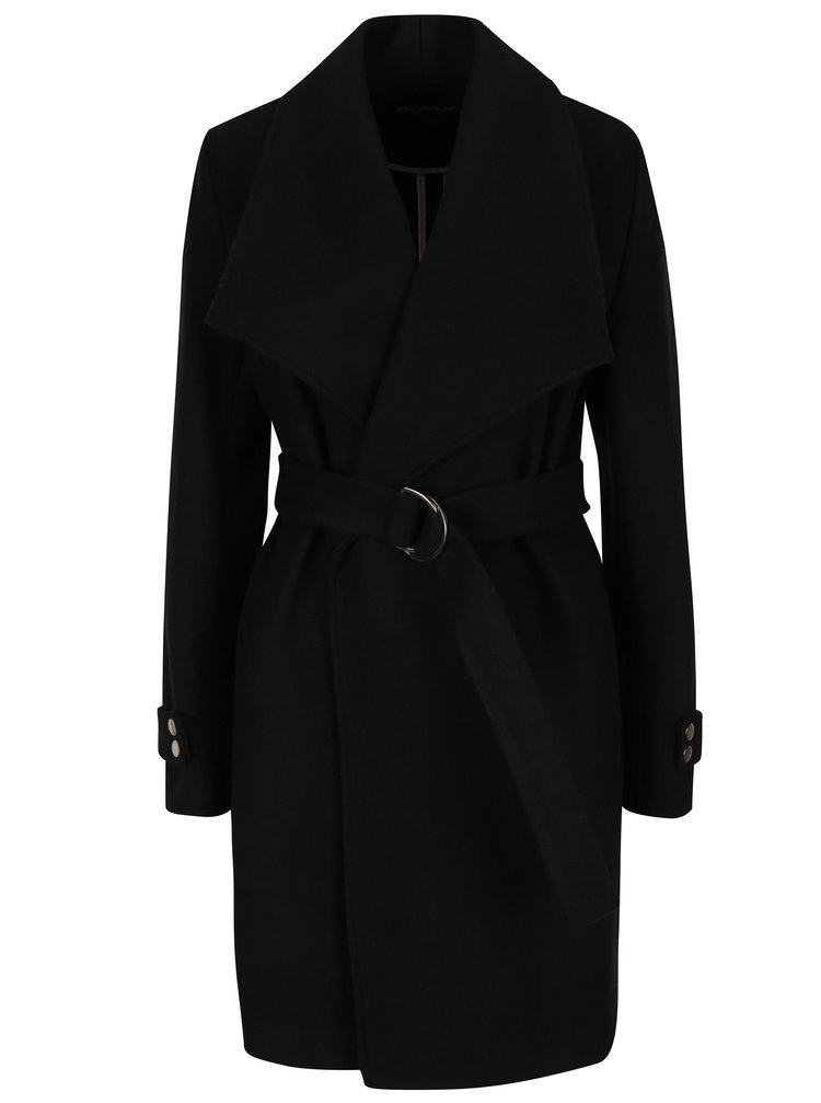 Palton negru cu revere supradimensionate si cordon in talie -  Miss Selfridge