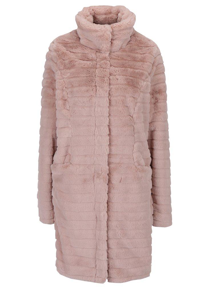 Svetloružový kabát s umelým kožúškom VILA Meria