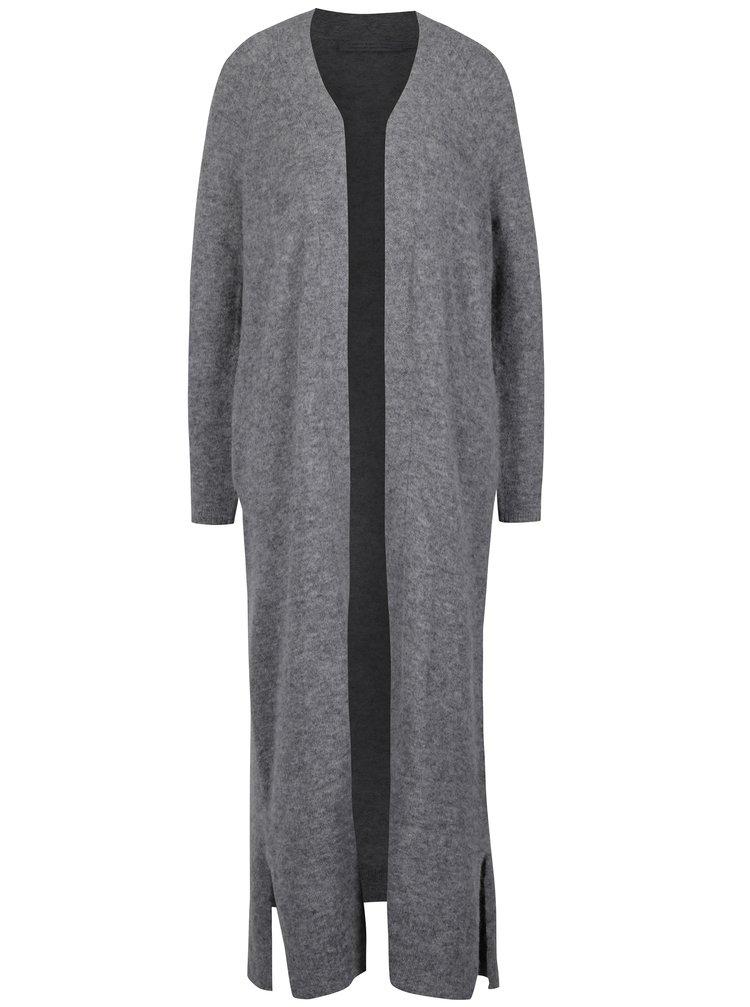 Šedý dámský dlouhý vlněný cardigan Calvin Klein Jeans Sumi