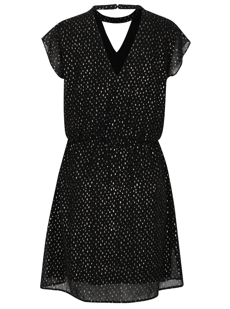 Černé šaty s chokerem a potiskem ONLY Rosalyn