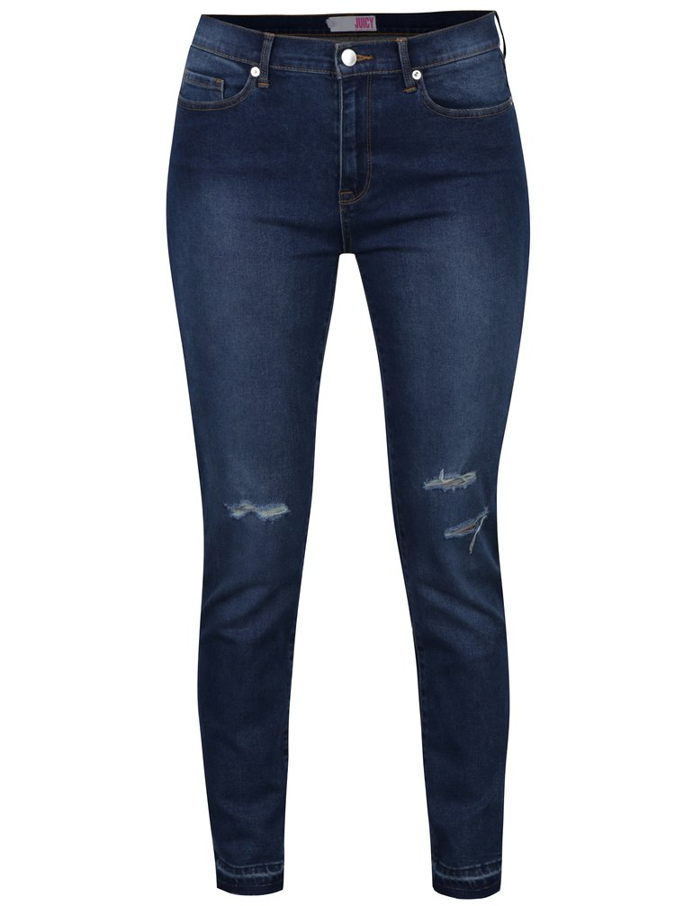 Tmavě modré skinny džíny s potrhaným erfektem Juicy Couture