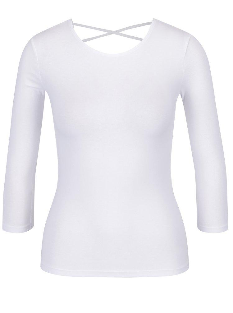 Tricou alb cu maneci 3/4 si bretele suprapuse la spate - TALLY WEiJL
