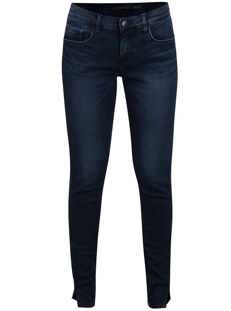 Tmavě modré dámské zkrácené skinny džíny Calvin Klein Jeans MR