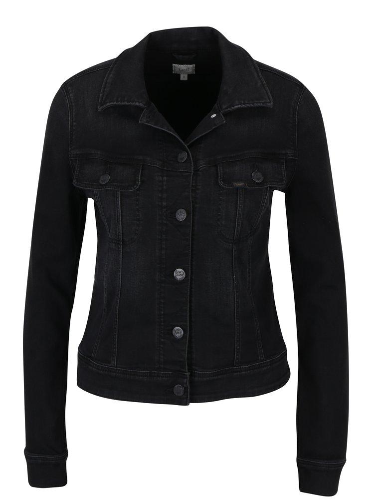 Jacheta slim neagra din denim - Lee Rider
