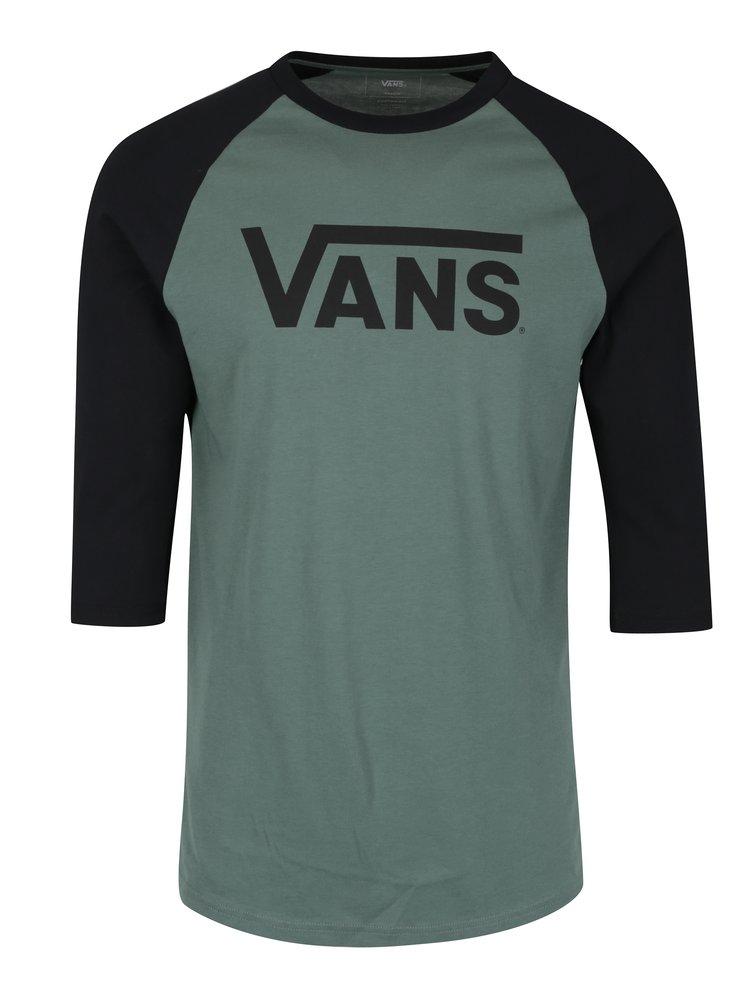Bluza verde&negru cu print si maneci 3/4 VANS Classic