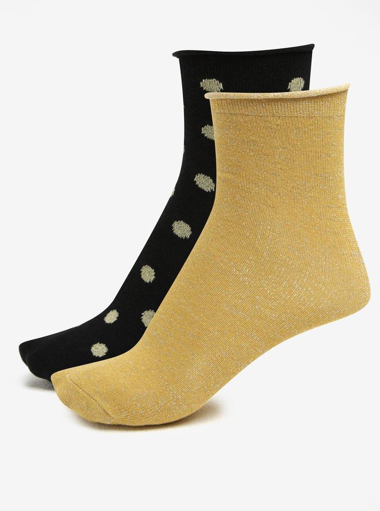 Set de 2 perechi de sosete negru cu buline si galben cu fir auriu ONLY Disla