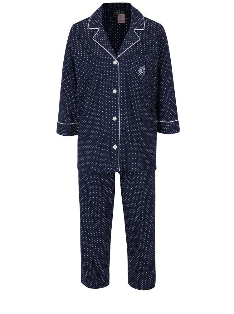 Tmavě modré puntíkované pyžamo Lauren Ralph Lauren Heritage