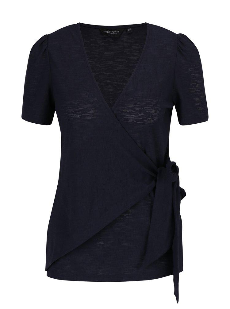 Bluza bleumarin cu decolteu suprapus - Dorothy Perkins
