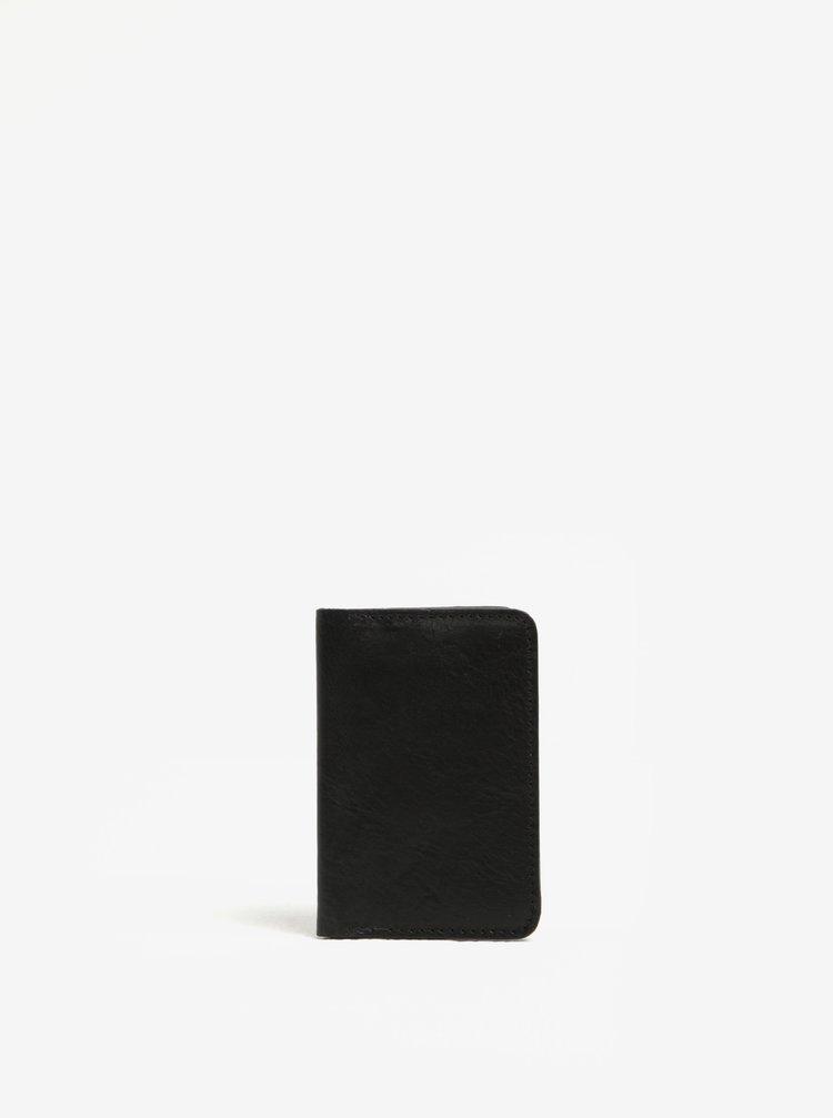 Černé kožené pouzdro na vizitky Elega