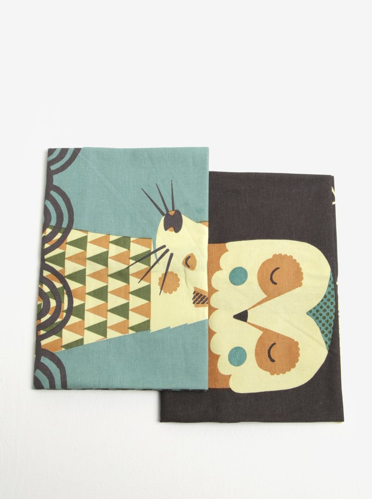 Sada dvou kuchyňských utěrek se zvířecím motivem Magpie Owl & Otter