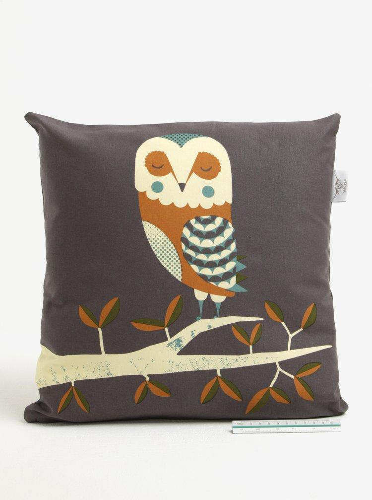 Hnědý polštář s motivem sovy Magpie Owl