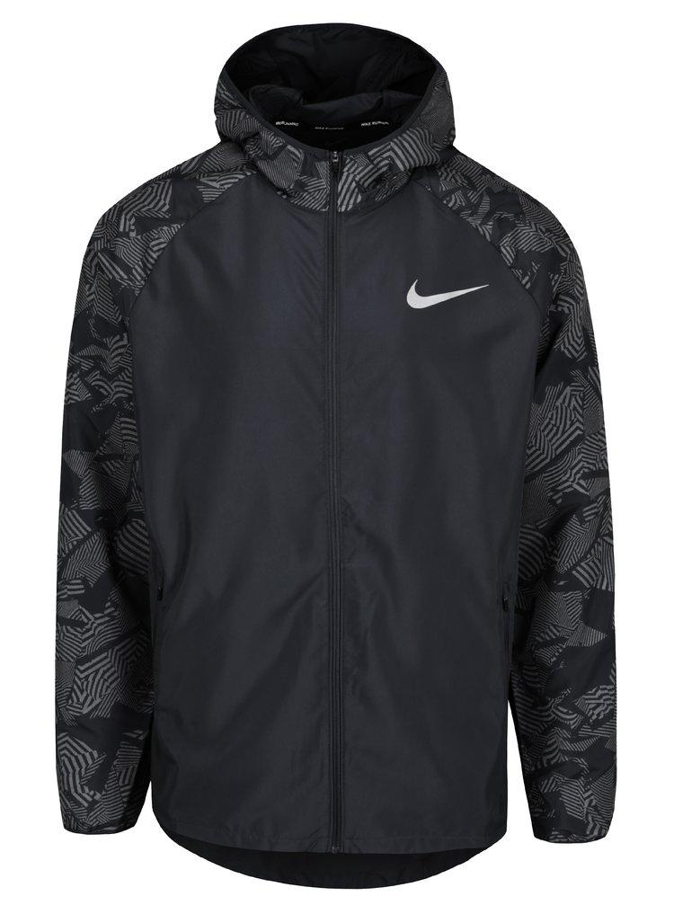 Jacheta neagra de alergat cu print gri pentru barbati Nike
