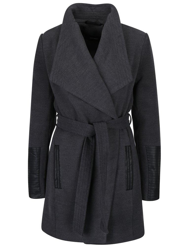 Tmavě šedý kabát s koženkovými detaily VERO MODA Cala