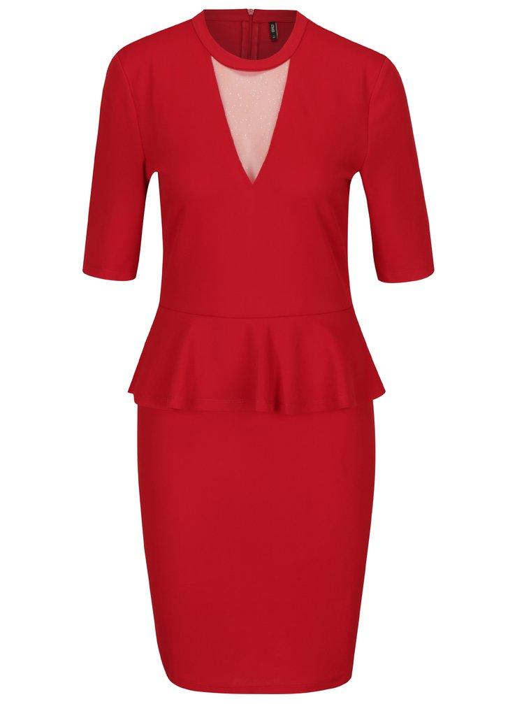 Červené šaty s volánkem ONLY Lona