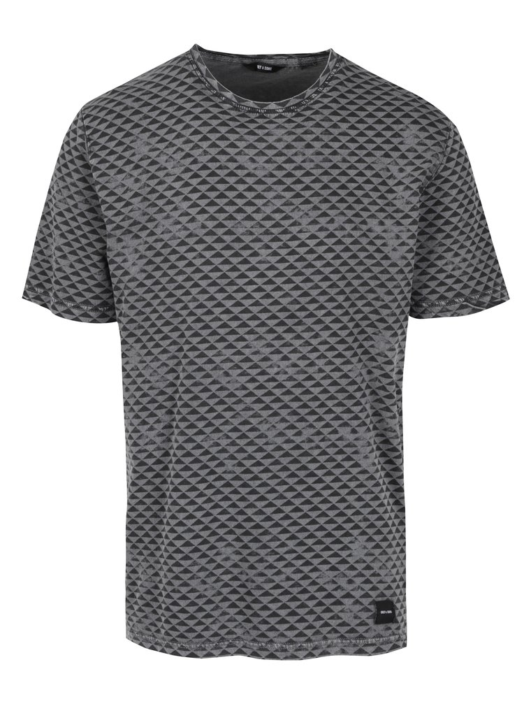 Černo-šedé vzorované tričko ONLY & SONS Merlin
