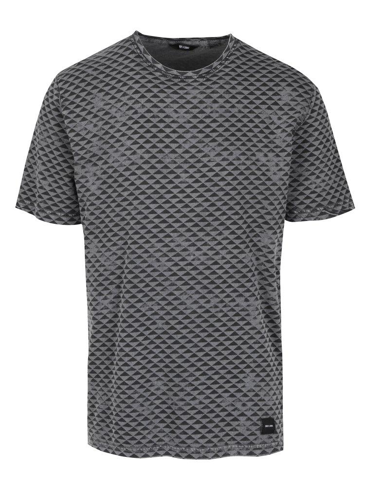 Tricou negru&gri cu print - ONLY & SONS Merlin